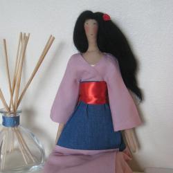 "Fabric art tilda doll ""Mulan"" - made to order"